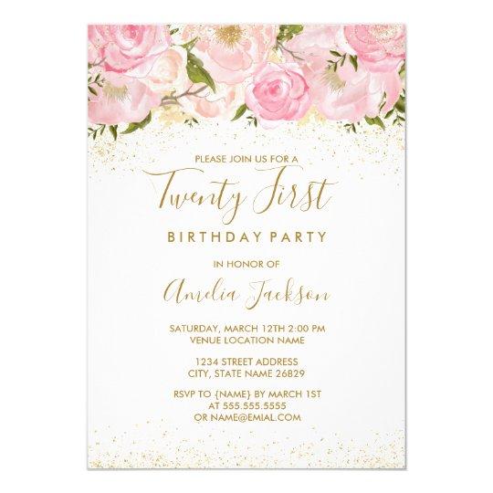 Pink gold sparkle rose 21st birthday invitation zazzle pink gold sparkle rose 21st birthday invitation filmwisefo