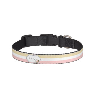 Pink & Gold Stripe Personalized Pet Collar