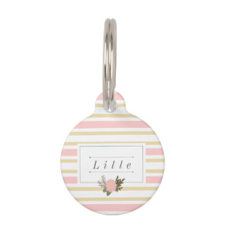 Pink & Gold Stripe Personalized Pet Name Tag