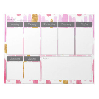 Pink & Gold Striped Paint Weekly Pattern Notepad