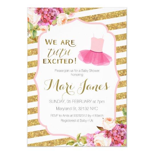 pink gold striped tutu baby shower invitation