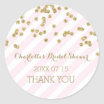 Pink Gold Stripes Bridal Shower Favour Tags Round Sticker