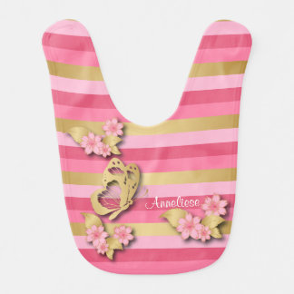 Pink & Gold Stripes with Flowers & Butterfly Bib