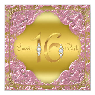 Pink Gold Swirl Fancy Sweet 16 Party 13 Cm X 13 Cm Square Invitation Card