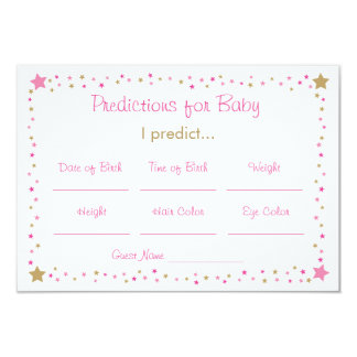 Pink Gold Twinkle Star Predictions For Baby Cards 9 Cm X 13 Cm Invitation Card