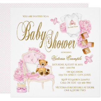 Pink Gold Watercolor Baby Shower Invitations