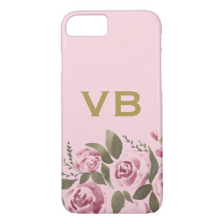 Pink Gold Watercolor Floral Rose iPhone 8/7 Case