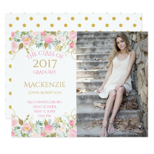 Pink Gold Watercolor Flowers Photo Graduation Card