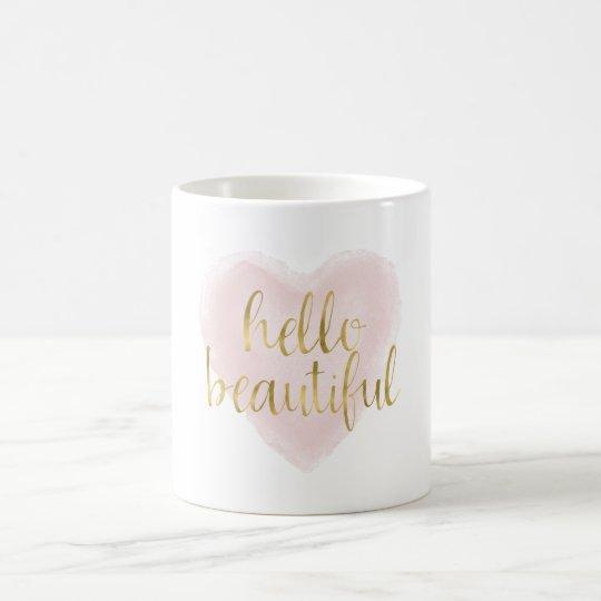 Pink Gold Watercolor Heart Hello Beautiful Coffee Mug