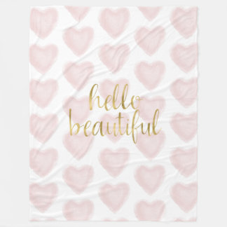 Pink Gold Watercolor Heart Hello Beautiful Fleece Blanket