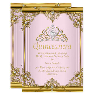 Pink Gold White Pearl Princess Quinceanera Blush Card