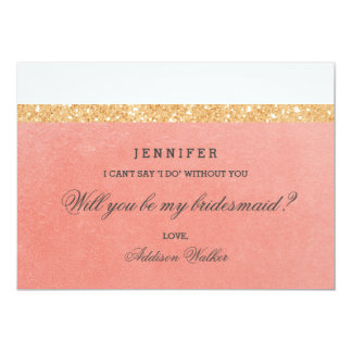 Pink & Golden Glitter | Will You Be My Bridesmaid 13 Cm X 18 Cm Invitation Card