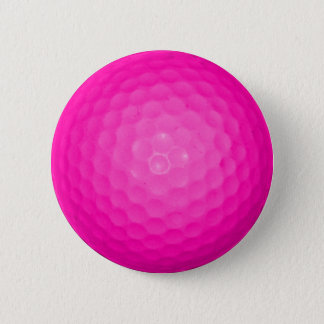 Pink Golf Ball 6 Cm Round Badge