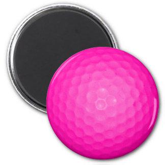 Pink Golf Ball 6 Cm Round Magnet