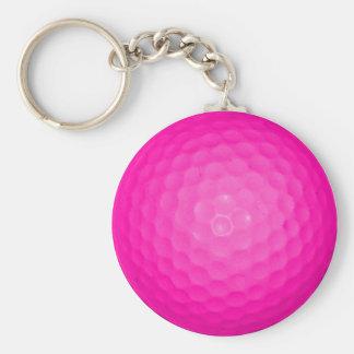 Pink Golf Ball Basic Round Button Key Ring