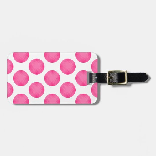 Pink Golf Ball Pattern Luggage Tag