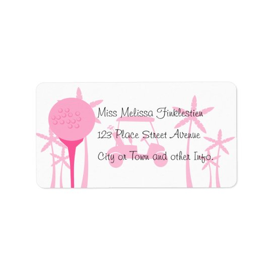 Pink Golf Date Address Label