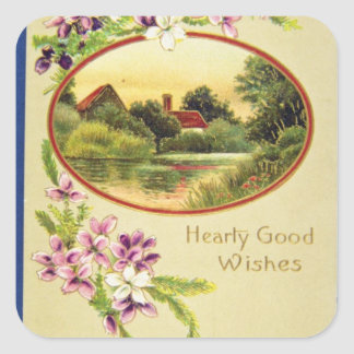 Pink Good Wishes, Davidson Bros., Pictorial Series Stickers