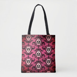 Pink Goth skull pattern Tote Bag