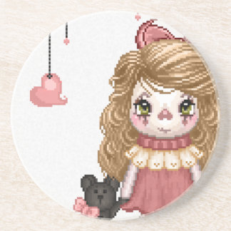 Pink Gothic Love Doll Pixel Art Coasters