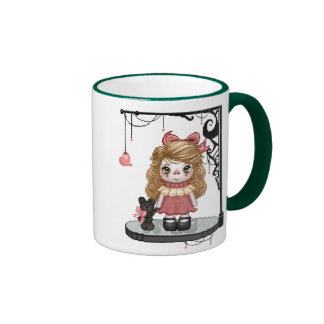 Pink Gothic Love Doll Pixel Art Coffee Mugs