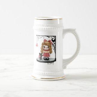 Pink Gothic Love Doll Pixel Art Coffee Mugs