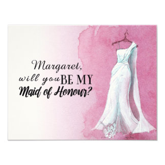"Pink Gown ""Will you be my maid of honour"" Card"