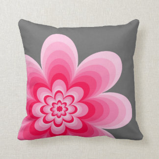 Pink Gradient Flower, Gray Pillow