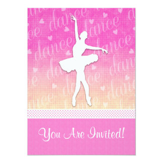 Pink Gradient Passionate Dancer with Hearts 14 Cm X 19 Cm Invitation Card