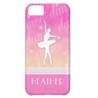Pink Gradient Passionate Dancer with Hearts iPhone 5C Case