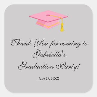 Pink Graduation Cap Thank You Round Sticker