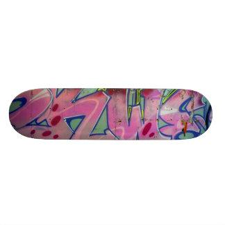 Pink graffiti skateboard. 21.3 cm mini skateboard deck