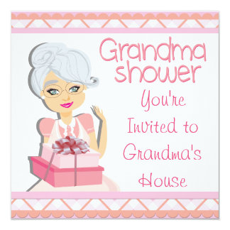 Pink Grandma Baby Shower 13 Cm X 13 Cm Square Invitation Card