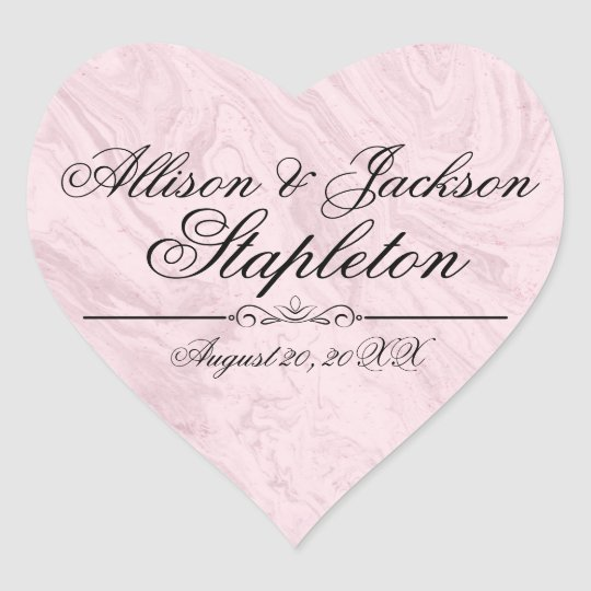 Pink Granite Marble Heart-Shaped Wedding Sticker