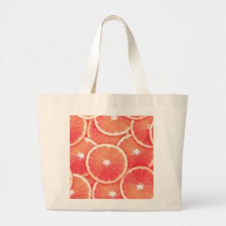 Pink grapefruit slices jumbo tote bag