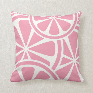 Pink Grapefruit Slices Summer Throw Pillow