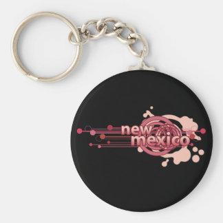 Pink Graphic Circle New Mexico Keychain Dark