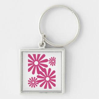 Pink Graphic Daisy Flower Keychain