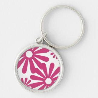 Pink Graphic Daisy Flower Keychains