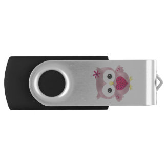 Pink Graphic Owl Design USB Flashdrive USB Flash Drive