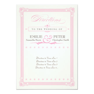 Pink, Gray and Cream Poster Style Directions Card 11 Cm X 16 Cm Invitation Card