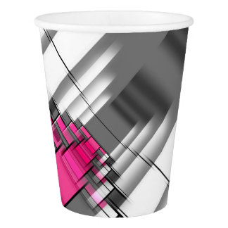 Pink Gray And White Geometrical Pattern Paper Cup