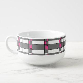 Pink Gray And White Geometrical Pattern Soup Mug