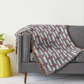 Pink Gray And White Geometrical Pattern Throw Blanket