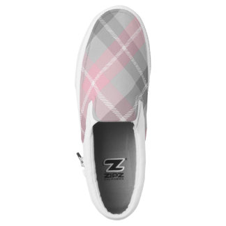 pink gray and white plaid printed shoes