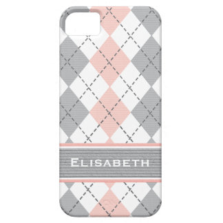 Pink Gray Argyle Preppy iPhone 5 Case