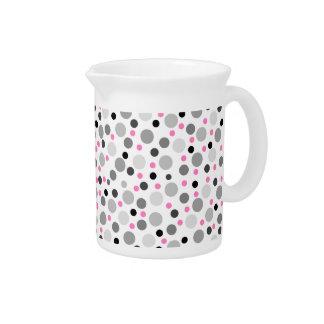 Pink Gray Black Polka Dot Pattern Pitcher