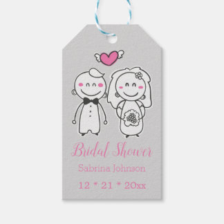 Pink & Gray Bridal Shower Wedding Bride & Groom Gift Tags