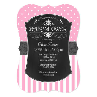 Pink Gray Chalkboard Stripes Baby Shower Invite