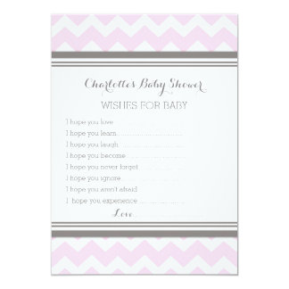 Pink Gray Chevron Baby Shower Note to Baby 13 Cm X 18 Cm Invitation Card